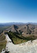 China, Hebei Province, Simatai, people walking on the Great Wall, high angle - stock photo