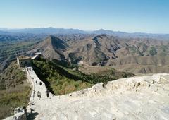China, Hebei Province, Simatai, people walking along the Great Wall, high angle - stock photo