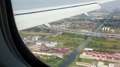 View from the airplane window on Bangkok, Thailand Stock Footage