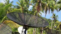Satellite dishes in wood amongst palm trees on the Koh-Chang island in Thailand Stock Footage