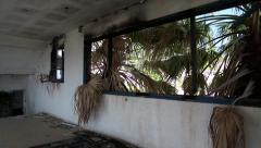 View from the window of destroyed hotel in Nea Skioni village, Greece Stock Footage
