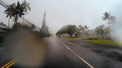 POV drive Tropical Cyclone Hilo climate Hawaiian Islands Pacific raindrops - stock footage
