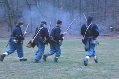 Civil War Yankee Soliders Running Stock Footage