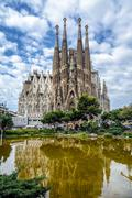 Basilica and expiatory church of the holy family by gaudi Stock Photos