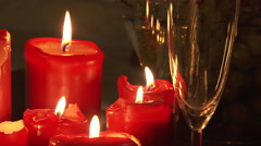 Spa candle light romantic background with glass of champagne Stock Footage