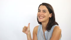 Good looking woman thumb up - stock footage
