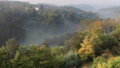 Countryside nature landscape forest in Piedmont Piemonte Italy Italia Stock Footage