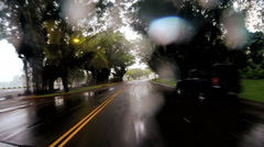 POV driving Tropical rain storm flooding coastal Hurricane Hawaii - stock footage