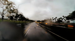 POVl drive Tropical Cyclone Hilo Highway flood Hawaiian Islands Stock Footage