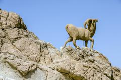 monument of sheep, sahara, chebika - stock photo