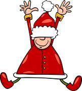 happy santa claus cartoon illustration - stock illustration