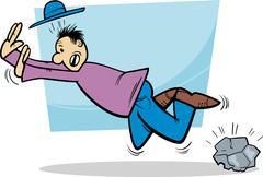 Stumbling man cartoon illustration Stock Illustration