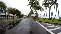 Hawaii POV Coastal drive Tropical Cyclone Hawaiian Islands - stock footage