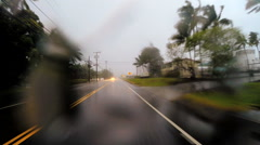 POV driving Tropical rain storm flooding Hurricane Hilo Big Island Stock Footage