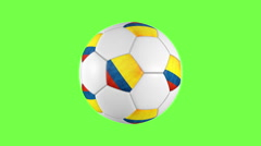 Stock Video Footage of Colombia soccer ball rotation on green background