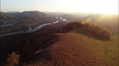 Aerial Stock Footage Mountain River Valley at Dawn - stock footage
