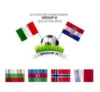 2016 soccer championship group h qualifying draw - stock illustration