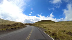 POV driving Mountain road Mt Mauna Kea Big Island Pacific Hawaii Stock Footage