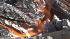Closeup Burning Wood Fire, Smoke, Air Pollution, Heat, Close up, Macro Flames Stock Footage