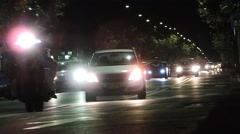 Night traffic, cars with headlights at Night. Stock Footage