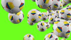 Stock Video Footage of Colombia soccer balls flying on green background