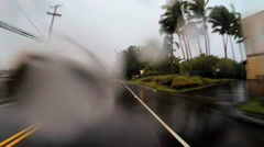 POV driving Tropical rain storm coastal Hurricane buildings Hilo Hawaii - stock footage