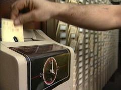 Stock Video Footage of Time Clock in a Factory
