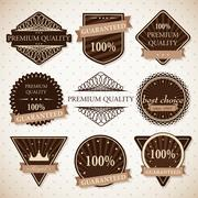 Set of premium quality, best choice and guaranteed labels with retro vintage Stock Illustration
