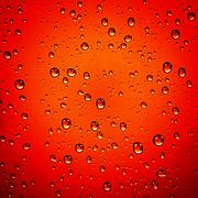 water droplets on red background - stock photo