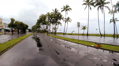 POV driving Tropical rain storm  Hurricane Hilo Big Island Hawaii - stock footage