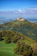 Hohenzollern castle in the beginning of autumn - stock photo