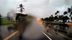 POV Coastal drive Tropical Cyclone Hilo Hawaii raindrops - stock footage
