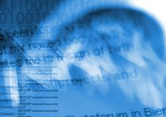 Binary typography overlaying computer command code, blue. Kuvituskuvat