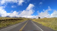 POV driving Mountain road Mt Mauna Kea Big Island Hawaii Stock Footage