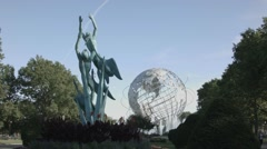 Bronze Sculpture in Front of Billie Jean King National Tennis Center Stock Footage