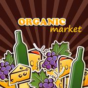 vector illustration of cheese, wine and grapes. organic food concept - stock illustration