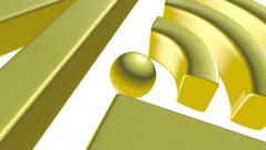 Golden 4G symbol on white with reflection 3D animation - stock footage