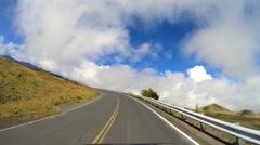 POV driving Mt Mauna Kea Hawaiian Islands Mountain Big Island Stock Footage