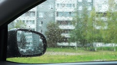 Autumn rainy weather from inside car Stock Footage