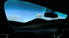 POV Driving Astronomical Observatory Dome Research Facility Satellite Telescope - stock footage