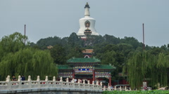 Time lapse of Jade Flower Island and The White Pagoda in Beihai Park, Beijing Stock Footage