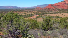 Distant Tour Jeep On Curvy Road In Red Rock Country- Sedona AZ Stock Footage