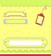 romantic yellow scrapbooking  for invitation - stock illustration