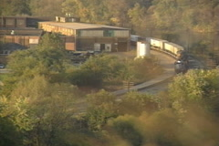Pennsylvania Cargo Train Turns in the Distance Stock Footage