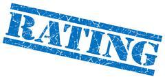 Rating blue grunge stamp isolated on white Stock Illustration