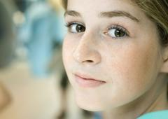 Preteen girl, close-up of face Stock Photos