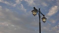 Lighting Lamppost Timelapse, Streetlight Sunset, Urban Lamplight Blue Cloudy Sky Stock Footage