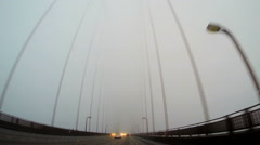 POV driving fog Golden Gate Bridge US Highway 101 San Francisco - stock footage