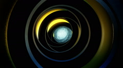 Abstract dark tunnel in black-yellow Stock Footage