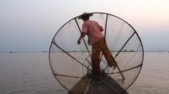 Fisherman in Inle Lake at Sunset, Shan State, Myanmar (Burma) Stock Footage